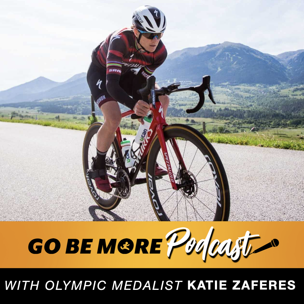 Katie Zaferes on a racing bicycle with Go Be More podcast episode info